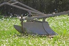 Aratro per lavorare la terra sul campo di erba delle margherite Immagine Stock