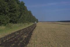 Aratura dei campi di grano sulla raccolta del grano Fotografia Stock