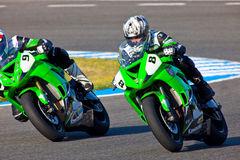 Araujo(8) and Cruz(9) pilots of Kawasaki Ninja Cup. JEREZ DE LA FRONTERA, SPAIN - APR 16: Kawasaki Ninja Cup motorcyclist Adria Araujo(8) and David Cruz(9) takes Stock Photography