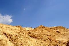 Arava desert - dead landscape,. Hiking in Arava desert, Israel, stones and sky Royalty Free Stock Images