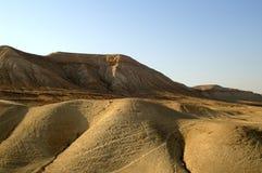 Arava desert - dead landscape,. Hiking in Arava desert, Israel, stones and sky Stock Photos