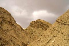 Arava desert - dead landscape,. Hiking in Arava desert, Israel, stones and sky Stock Photo