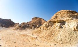 Arava desert travel in Israel. Hiking in mideast stone desert tourism Stock Photo