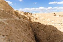 Arava desert travel in Israel. Hiking in mideast stone desert tourism Stock Image