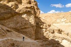 Arava desert travel in Israel. Hiking in mideast stone desert tourism Stock Images