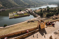 Aravalli Hills and Amber Fort Royalty Free Stock Photos