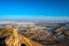 Aravalli mountains near Udaipur. Aerial view to Udaipur city, Rajasthan, India Royalty Free Stock Photography