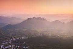 Aravalli mountains, Udaipur. Aravalli mountains near Udaipur on sunset, Rajasthan, India Stock Photo
