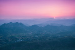 Aravalli mountains, Udaipur. Aravalli mountains near Udaipur on sunset, Rajasthan, India Stock Photo