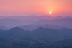Aravalli mountains, Udaipur. Aravalli mountains near Udaipur on sunset, Rajasthan, India Stock Images
