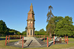 Arawa war memorial in Rotorua - New Zealand. ROTORUA, NZL - JAN 11 2015:Stone statue of King George V on Arawa war memorial in Rotorua. It commemorates Te Arawa Stock Image