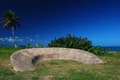 arawak瓜德罗普岛刻在岩石上的文字 免版税库存照片