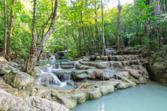 Arawan Forest Waterfall in Kanchanaburi, Thailand. Royalty Free Stock Image