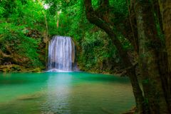 Arawan waterfall in thailand. Arawan waterfall in tropical forest in thailand.Deep forest waterfall in kanchanaburi royalty free stock photos