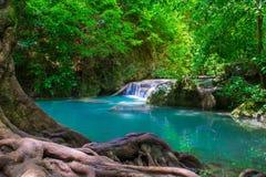 Arawan waterfall in thailand. Arawan waterfall in tropical forest in thailand.Deep forest waterfall in kanchanaburi royalty free stock image