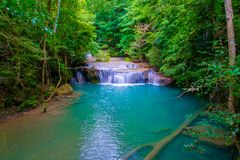 Arawan waterfall. In tropical forest in thailand.Deep forest waterfall in kanchanaburi royalty free stock photography