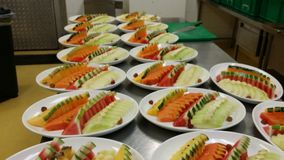 An aray of mixed fruits platter preparation Royalty Free Stock Photos