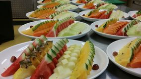 An aray of mixed fruits platter preparation Royalty Free Stock Image