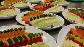 An aray of mixed fruits platter preparation. Mix fruits platter Royalty Free Stock Photo