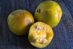 Araza fruit closeup in Ecuador. Rare araza fruit closeup from the Amazon area of  Ecuador Royalty Free Stock Photos