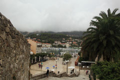Arba town square. Bad weather day in Arba Town Square in the old medieval Rab town which is located on the main island Rab, in Croatia, Europe Stock Photography