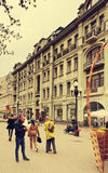 Arbat步行街道,莫斯科,俄罗斯 免版税库存照片