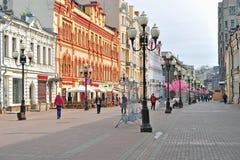 Arbat步行购物街道,莫斯科看法  免版税库存图片