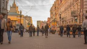 Arbat - η οδός περπατήματος στο κέντρο της Μόσχας, Ρωσία φιλμ μικρού μήκους