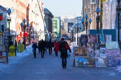 Arbat gata av Moskva i vintertid arkivbilder
