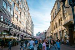 Arbat gata i Moskva, Ryssland arkivbild