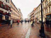 Arbat Moscou O ponto inicial do inverno fotografia de stock royalty free