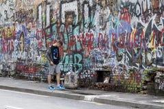 Arbat, Moscou, Russie - 1er juillet 2017 mur de Viktor Tsoi Images stock