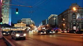 Arbat street at evening. Beautiful evening at the center of Moccow Royalty Free Stock Image