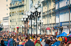 Arbat street. MOSCOW - April 13: Many people walking on the famous Arbat street on April 13, 2014 in Moscow. This street is one of the few pedestrian streets in Royalty Free Stock Photo