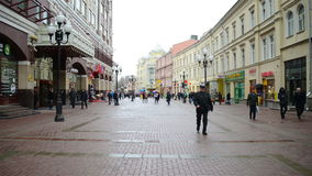 Arbat street in Moscow stock video footage