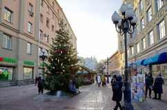 Arbat street during the New year holidays, Moscow, Russia. Moscow, Russia - January 9, 2018: New year in Moscow. Christmas decorations at Arbat street Royalty Free Stock Photography