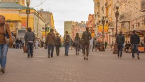 Arbat - the walking street in the center of Moscow, Russia stock video footage