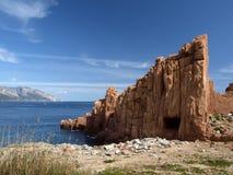 arbatax γνωστοί η Ιταλία porphyry κόκκινοι βράχοι Στοκ Εικόνες