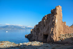 Arbatax with the known red porphyry rocks, Italy Stock Photography