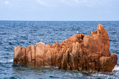 Arbatax red porphyry rocks nearby port Capo Bellavista sardegna Sardinia Italy Europe Royalty Free Stock Photo