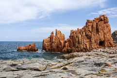 Arbatax red porphyry rocks nearby port Capo Bellavista sardegna Sardinia Italy Europe. Arbatax the red porphyry rocks nearby port Capo Bellavista sardegna Stock Photography
