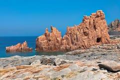 Arbatax red rocks. In Sardinia Royalty Free Stock Images