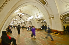 Arbatskaya metro station, Moscow. MOSCOW - MAR 7 : national architecture monument - metro station Arbatskaya&qu ot;, front view on March 7,2012 in Moscow, Russia Stock Images