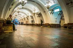 Arbatskaya-U-Bahnstation in Moskau, Russland stockfoto