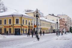 Arbatstraat in Moskou in de winter Royalty-vrije Stock Afbeeldingen
