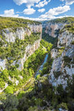 Arbayun canyon in Pyrenees of Spanish Navarra. Arbayun canyon is a part of Sierra de Leyre mountain chain, along Salazar River in Pyrenees of Spanish Navarra as Royalty Free Stock Photo