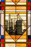 Arbed foundry Symbol stained Glass window. In the city hall of Esch sur Alzette Luxembourg royalty free stock image