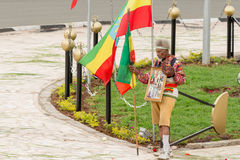 Arbegnoch Qen - Patriots' Day. Addis Ababa - May 5: Arbegna, a patriot and war veteran, holds the Ethiopian flag at the 74th anniversary of Patriots' Victory day Stock Images