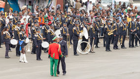 Arbegnoch Qen - Patriots' Day. Addis Ababa - May 5: The Ethiopian Police Marching Band performs at the 74th anniversary of Patriots' Victory day commemorating Royalty Free Stock Photos