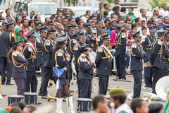 Arbegnoch Qen - Patriots' Day. Addis Ababa - May 5: The Ethiopian Police Marching Band performs at the 74th anniversary of Patriots' Victory day commemorating Stock Photo